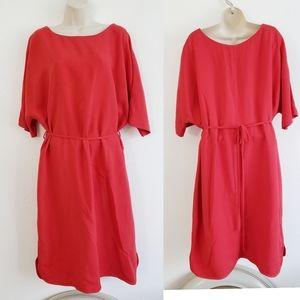 Boden Red Waist Tie Shift Dress